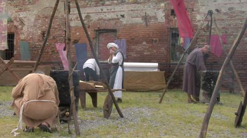 medieval village 05 Stock Video Footage