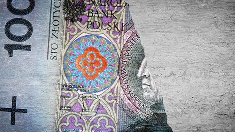Painting 100 PLN on the wall Stock Video Footage