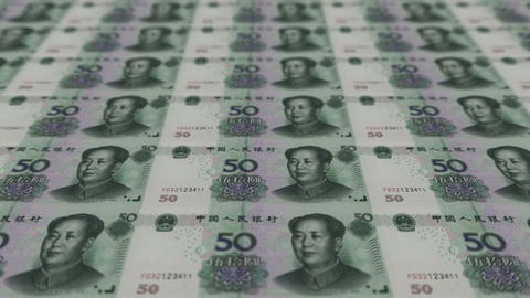 Printing Money Animation,50 RMB bills Stock Video Footage
