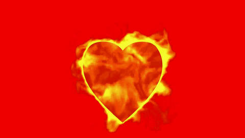 burning heart and fire,valentine's day energy heart Stock Video Footage