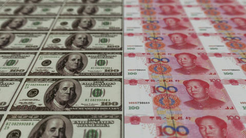 Printing Money Animation,100 dollar and 100 RMB bills Stock Video Footage