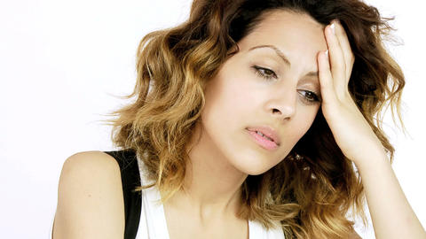 Closeup of beautiful woman with very strong headache Stock Video Footage
