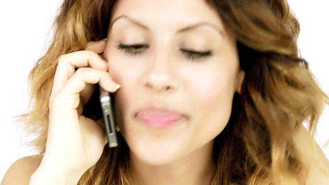 Happy beautiful young woman talking on the phone Stock Video Footage