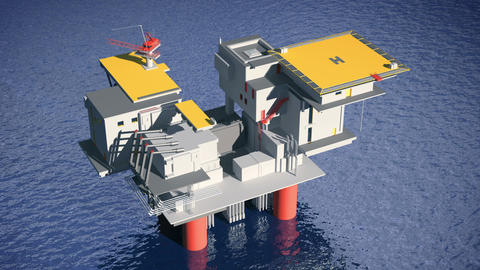 Construction of the oil platform Stock Video Footage