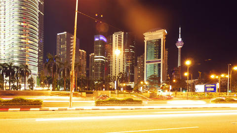 Kuala Lumpur at night, timelapse in motion Stock Video Footage