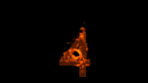 burning numbers 4,fire on black background Stock Video Footage