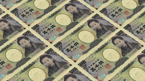 5000 japanese yen,Printing Money Animation Stock Video Footage