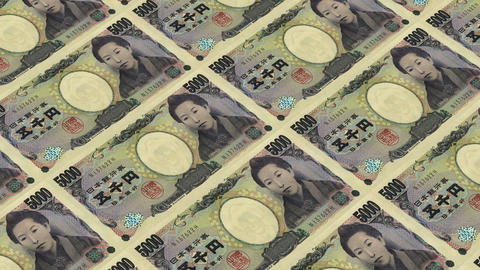 5000 japanese yen,Printing Money Animation Stock Video Footage