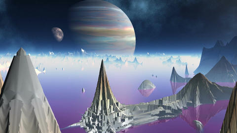 City of aliens and two planets Stock Video Footage