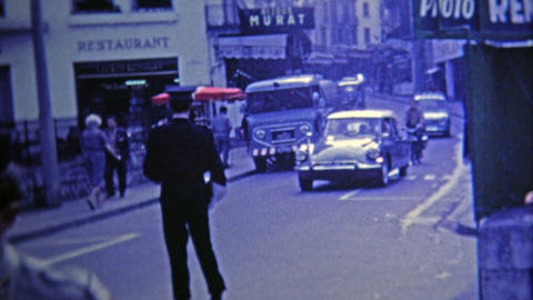 1969: French Police Direct Traffic In The Street With Help Of Military stock footage