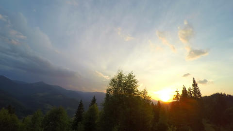 Sunset in Carpathian Mountains Footage