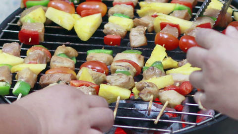 HD Footage of Grilling barbecue grill Footage