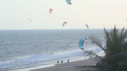 Kitesurfers beach Footage