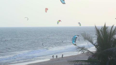 Kitesurfers beach Footage