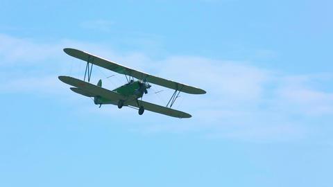 Vintage military biplane Live Action