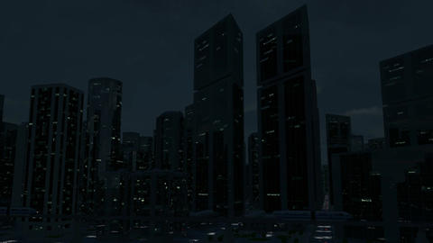 Futuristic City Scene Monorail 2 (Night Version) Animation