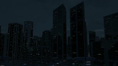 Futuristic City Scene Monorail 2 (Night Version) Animation