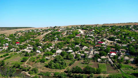 View of the Moldovian village from the mountain Footage