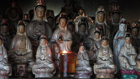 Old Chinese porcelain figurines of Guan Shi Yin Bodhisattva Footage