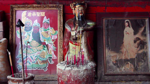 Deified Chinese historical figures and Guan Shi Yin Bodhisattva Footage
