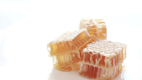 HD Footage of honeycombs on white background Footage