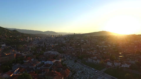 Aerial Sarajevo Sunset stock footage