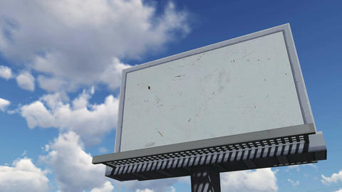 Empty billboard against cloudy sky. Time lapse Footage