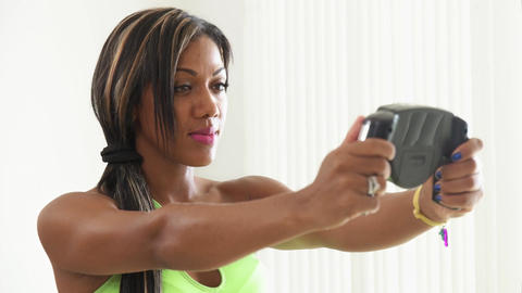 10 Black Athlete Woman Measures Body Fat With Electronic Equipment stock footage