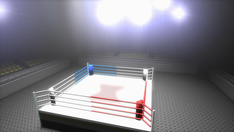 Empty boxing ring in sport arena Animation