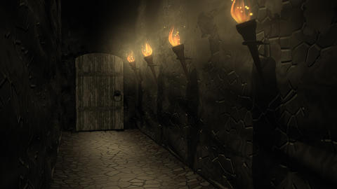 castle, passageway, tunnel, corridor, torch, light, wall, interior, medieval Animation