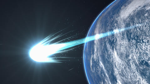 Artist rendering, Bright comet flyby Earth Animation