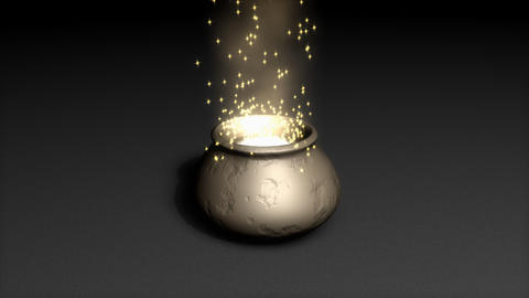 Magical pot with bright particles, zoom in animation Animation