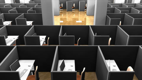Office building, office cubicle partitions Animation