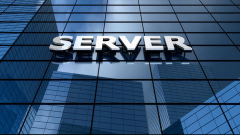 Server building blue sky time-lapse Animation