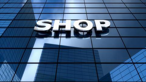 Shop Building Blue Sky Timelapse stock footage