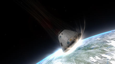 Artist rendering, Space capsule descending to Earth Animation