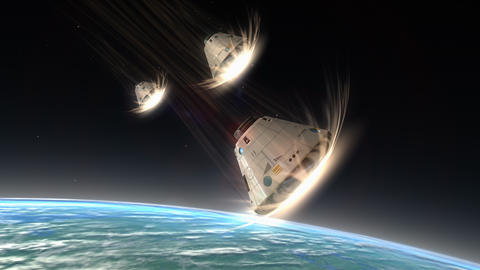 Multiple Space Capsules Descending, Module, Science, Space, Technology stock footage