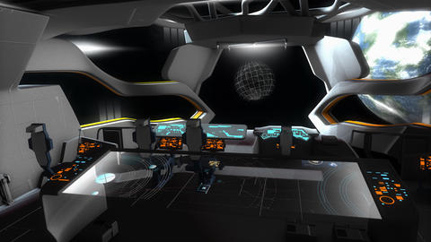 Spaceship creative fictional command room Animation