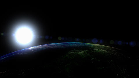 Sunrise view from space, low orbit, sun Animation