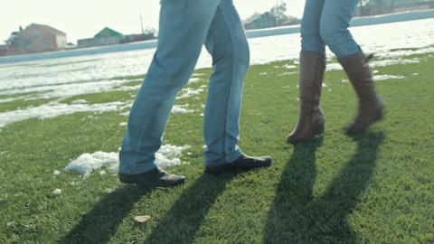 Couple Playing And Running On The Football Football Field stock footage