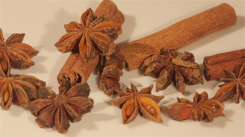 Macro view of cinnamon and anise spices Footage