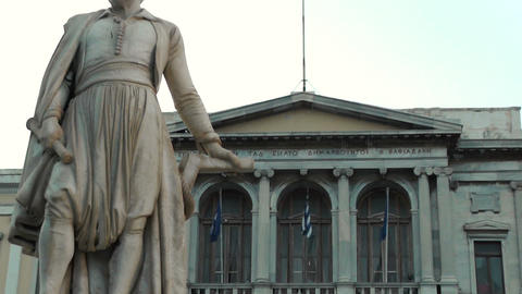Famus Town Hall And Statue At Miaoulis Square In Syros stock footage