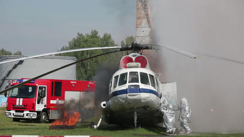 Indicative manoeuvers of group of rescuers of Emercom of Russia on fire extingui Footage