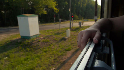 Hand Based On The Open Train Window stock footage