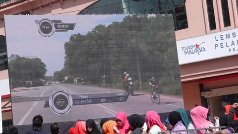 Cyclist On Screen stock footage