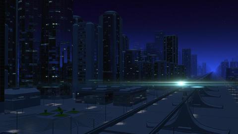 Futuristic City Monorail (Night Version) Animation