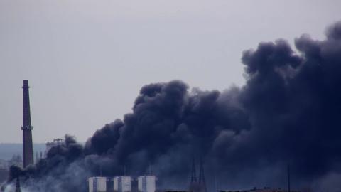 Dangerous Industrial Fire Burning Footage