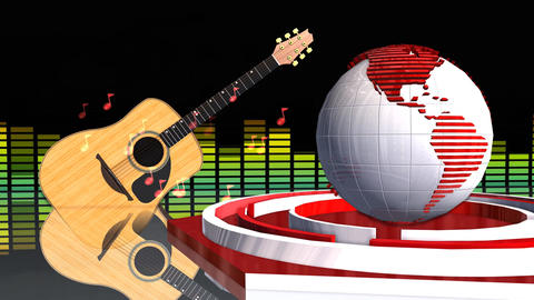 Global News Music Update Broadcast Television 3D Animation Stock Video Footage