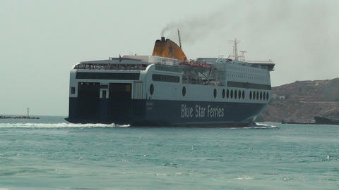 Blue Star Ferry Boat Is Leaving Port stock footage