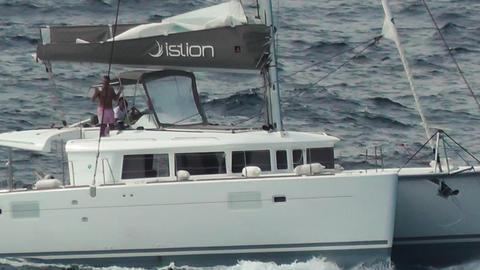 catamaran ship crossing the sea Footage